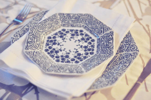 vintage blue and white China dishes