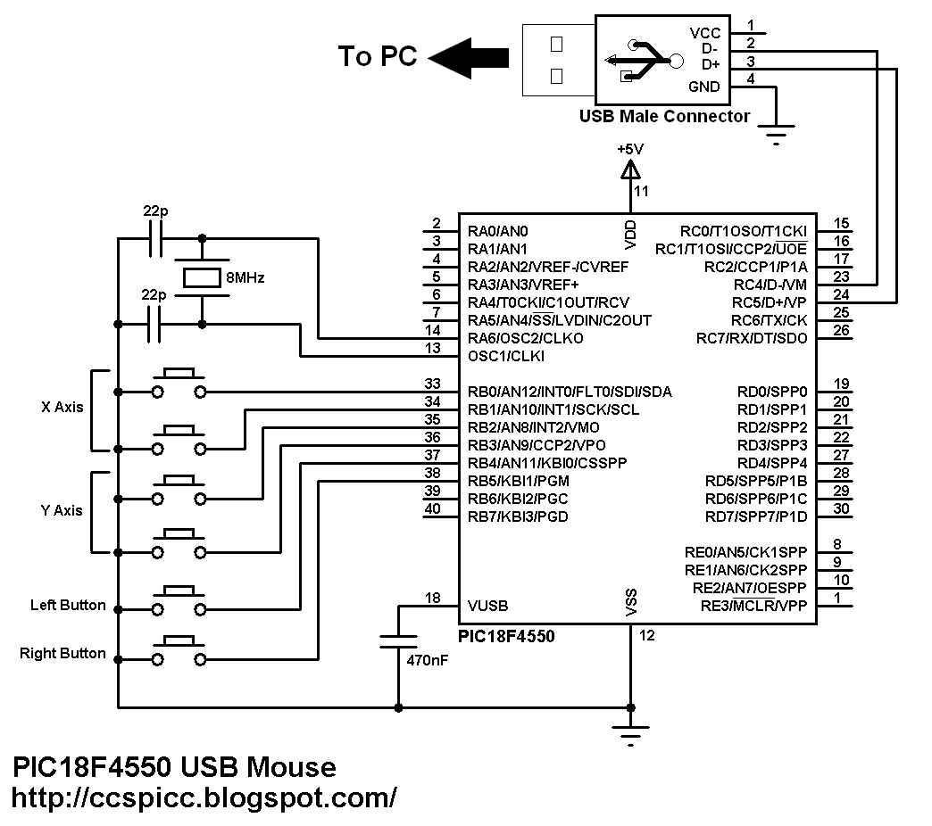 medium resolution of pic18f4550 pic18f2550 usb hid mouse circuit