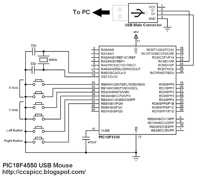 PIC18F4550 PIC18F2550 USB HID Mouse circuit