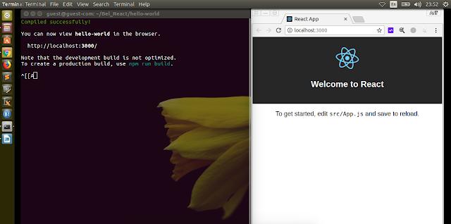 Tampilan React pada saat pertama kali dijalankan pada web browser