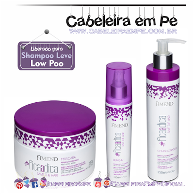Linha #ficaadica - Save the Hair - Amend (Máscara, condicionador e leave in liberados para Low Poo)