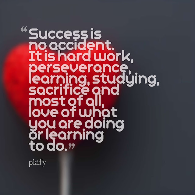 Success Is No Accident Love Of What You Are Doing Or Learning To Do