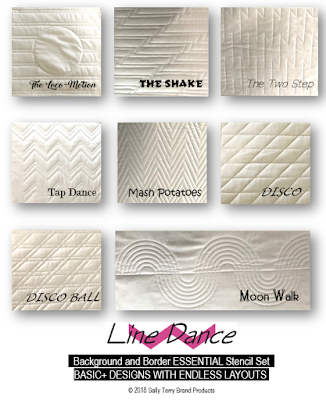 Line Dance Background and Fill Machine Quilting Stencil Set by Sally Terry