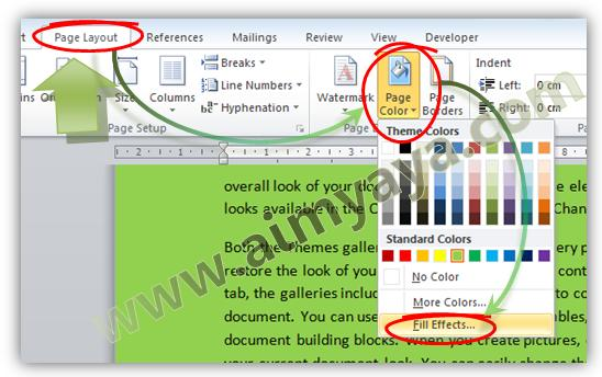 Gambar: Mengatur background halaman melalui fill effects di Ms Word 2010