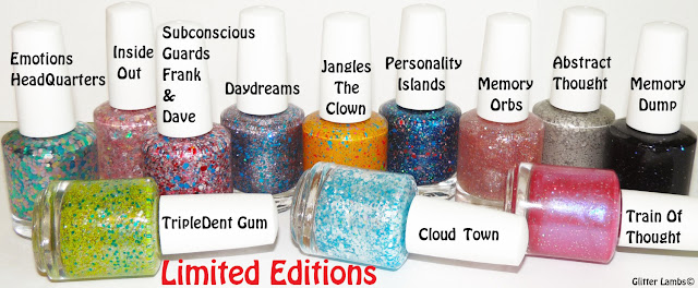 Emotions Headquarters, Inside Out, Subconscious Guards Frank and Dave, Daydreams, Jangles the clown, Personality Islands, Memory Orbs, Abstract Thought, Memory Dump, TripleDent Gum, Cloud Town - Nails