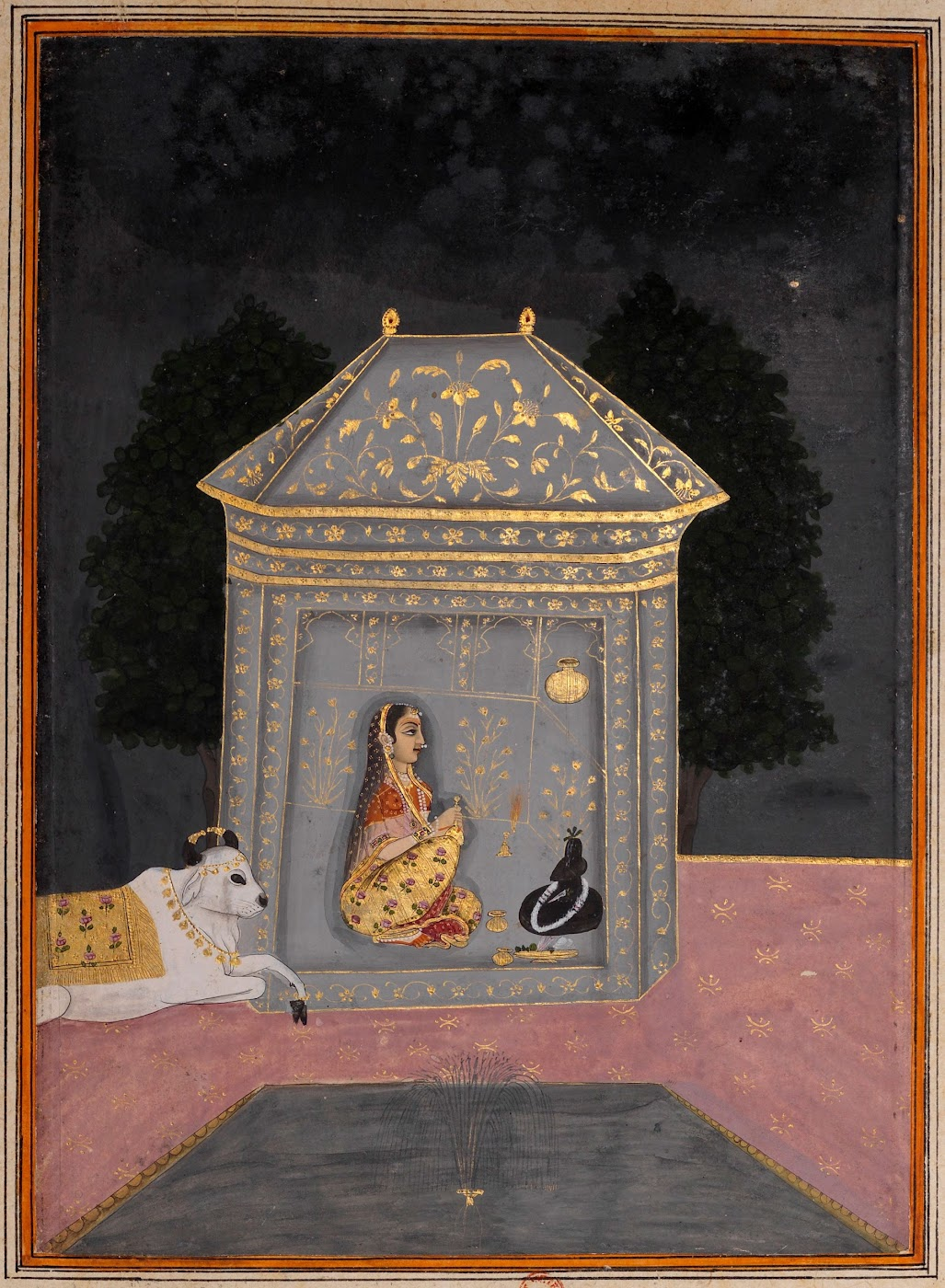 Lady Worshipping Shiva Linga - Rajput Ragamala Painting from a Manuscript, Circa 1800