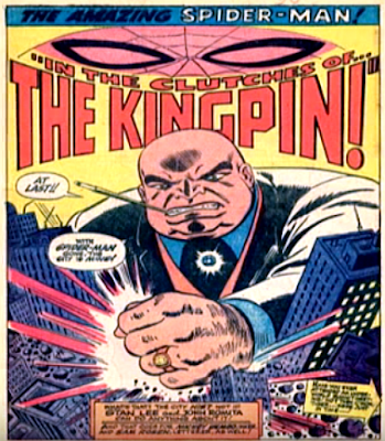 Amazing Spider-Man #51, john romita, the Kingpin smashes a model of manhattan with his fist, splash page