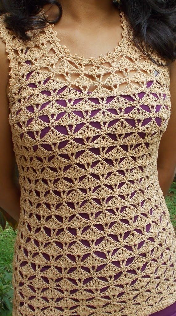 Sweet Nothings Crochet free crochet patterns, free crochet pattern, free crochet top pattern, free crochet shelled top pattern, free crochet ladies top pattern, free crochet easy top pattern,