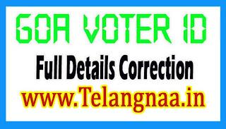 Goa Voter id Card Online Correction Full Details