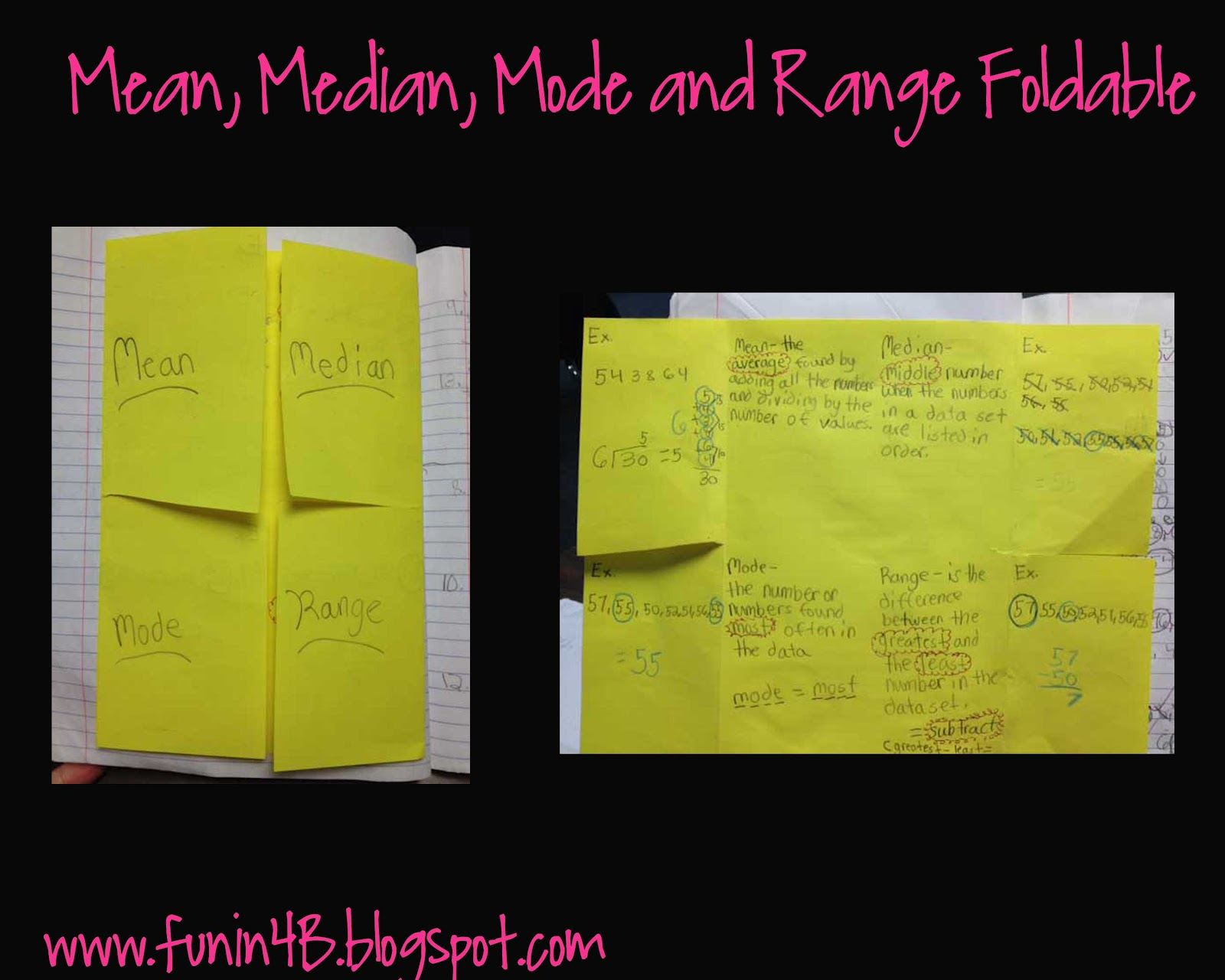 3 6 Free Resources Mean Median Mode And Range Foldable