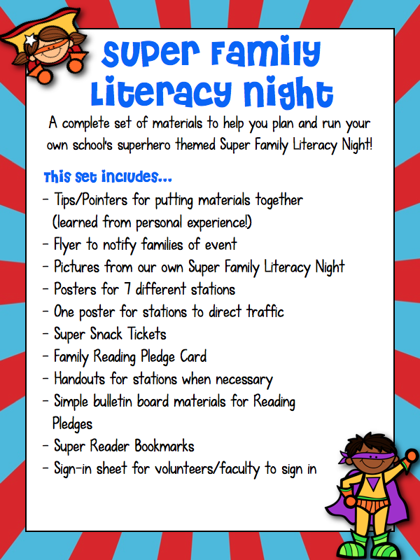 Super Family Literacy Night Superhero on Parent Involvement Action Plan