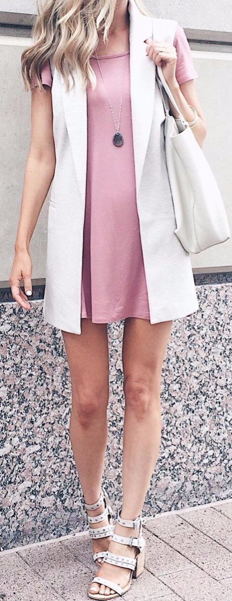 pastel rocks this year. mixing a blush dress with sleeveless
