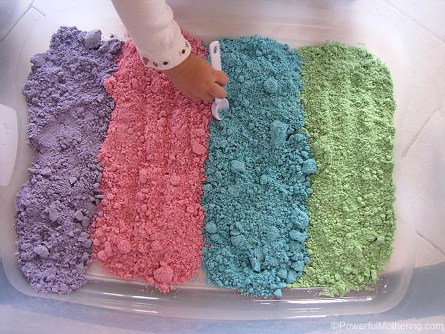 How to make colored cloud dough sensory play