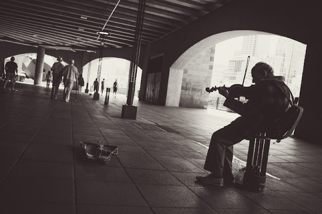 Man playing violin in the street