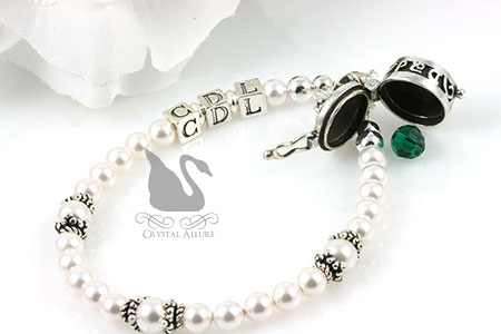 Custom Bridal Memorial Bracelet with Prayer Box Charm (B168)