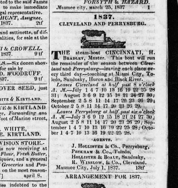 1837 Steam Boat Schedule - Cleveland, Ohio - Cleveland History - from www.GenealogyGirlTalks.com