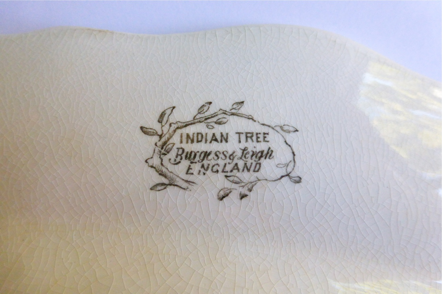 Indian Tree, Burgess & Leigh, English pottery, English pottery backstamp