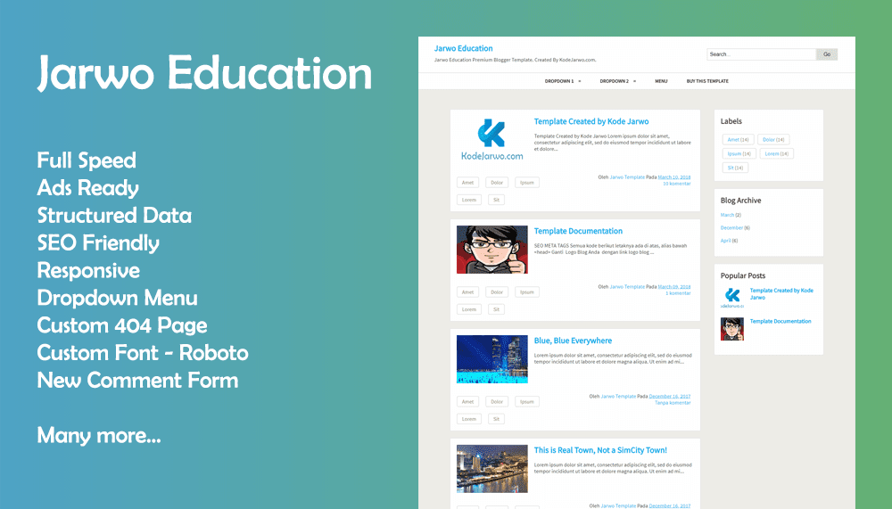 Jarwo Education Premium Responsive Blogger Template