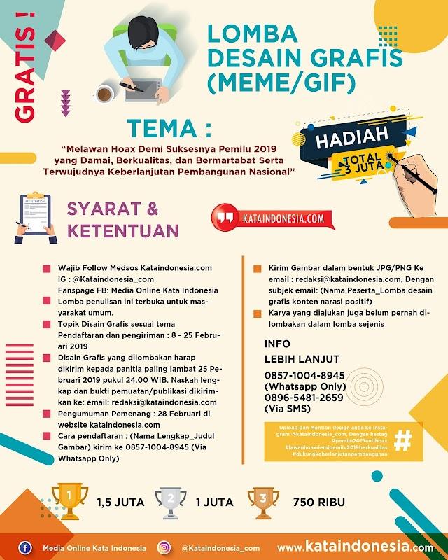 [Gratis] Lomba Desain Grafis (Meme/GIF) 2019 Oleh Kataindonesia.com