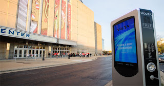 Volta charging station at the United Center in Chicago (Photo Credit: Mia Yamauchi of Volta Charging) Click to Enlarge.