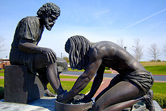 Statue of Jesus Washing Disciple's feet at Dallas Theological Seminary