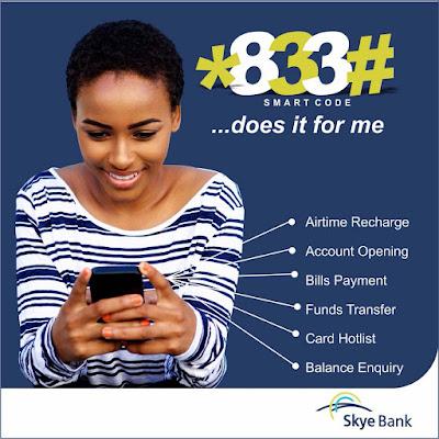 Skye Bank USSD Code for Money Transfer [*833#] - [Bank codes]
