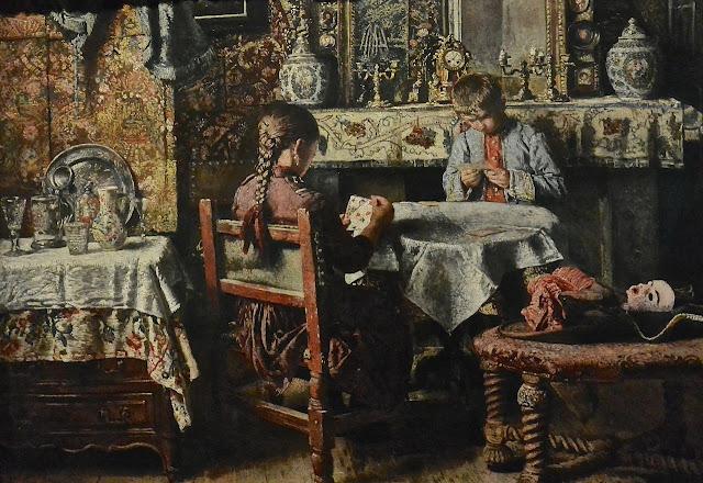 ruxelles musées royaux  des beaux-arts Fin de siècle Henri de Braekeleer :la partie de cartes (1874-76)