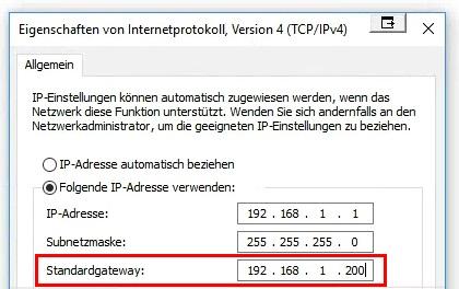 Standardgateway in Windows Netzwerkeinstellungen