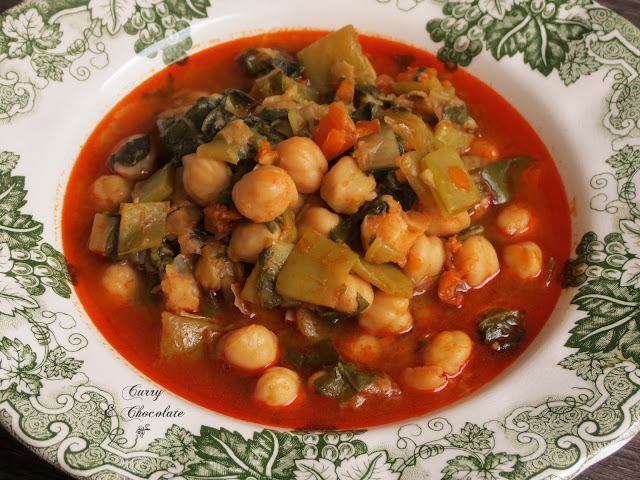 Curry y chocolate potaje de garbanzos con verdura - Garbanzos con verduras ...
