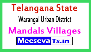 Warangal Urban District Mandals Villages In Telangana State