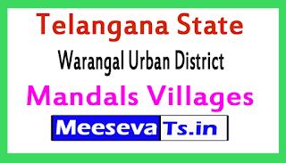 Warangal Urban District Mandals Villages In Telangana State