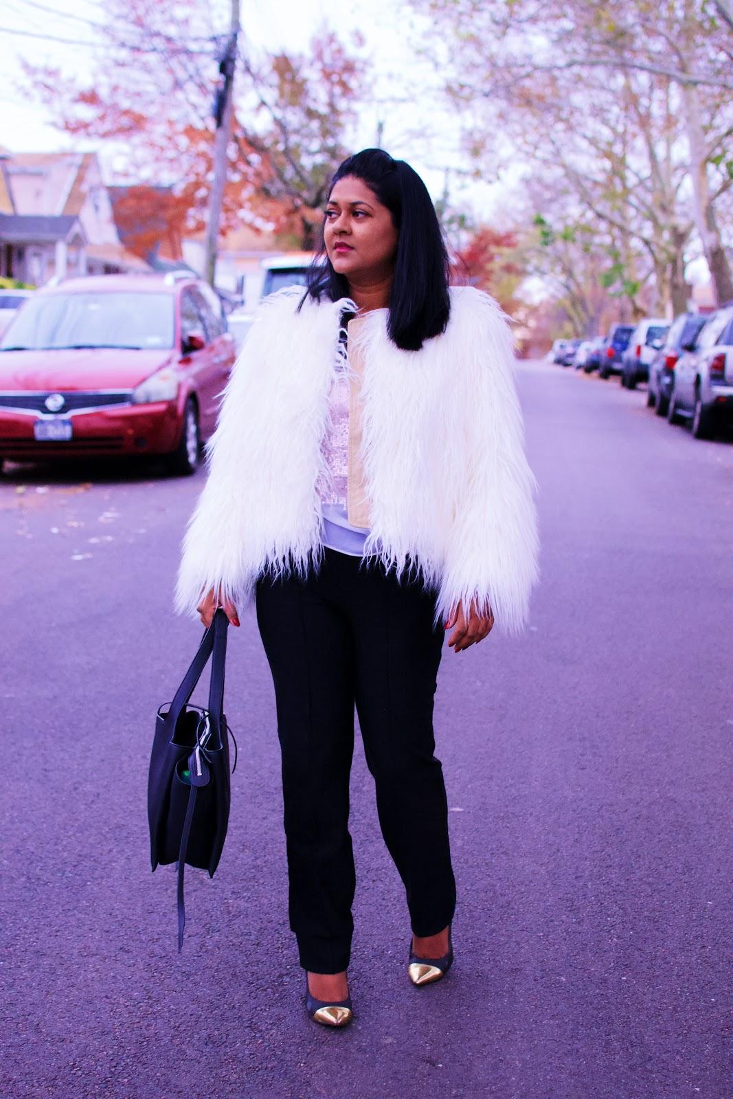 Faux fur jacket, fall jackets to wear in New York, fall fashion, celine trifold