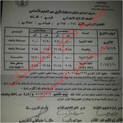 جداول إمتحانات الترم الاول محافظة الدقهليه 2017 الشهادة الابتدائيه