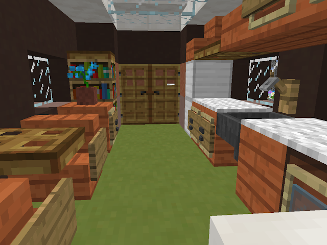 Interieur woonwagen in Minecraft.
