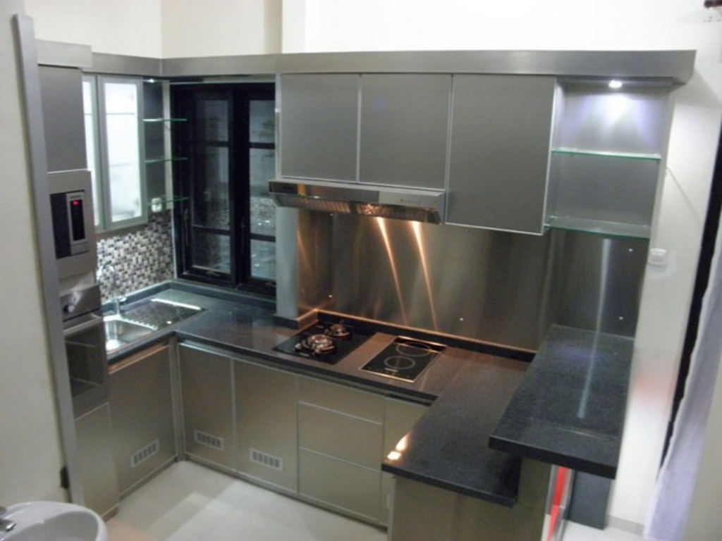Bentuk kitchen set dari stainless steel minimalis for Kitchen set minimalist design