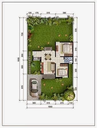 Denah Rumah Minimalis Type 52 di atas Lahan 180 meter persegi