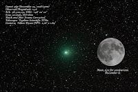 Kometa 46P/Wirtanen, zdjęcie z 24.12.2018 r. i porównanie do rozmiaru kątowego Księżyca Credit: Charles Chiofar. Waszyngton, Stany Zjednoczone. Nikon D3100 + Explore Scientific ED 80 mm, ISO 1600, eksp. 6x45 sek., oszacowana jasność +4,6 mag.