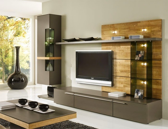 Ideas for wall unit designs with storage for small living ...
