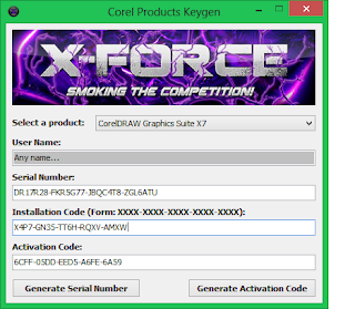 X-force key to crack corel draw x7
