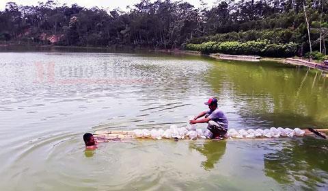 Petugas dari Dinas Perikanan memberikan benih ikan