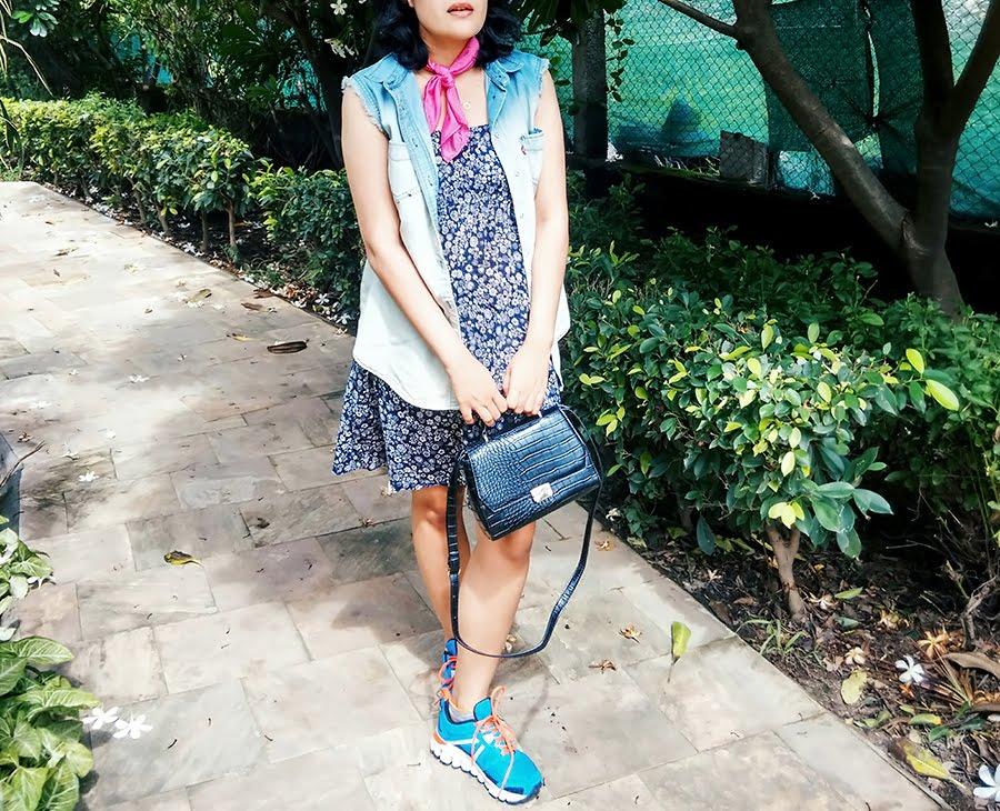 vintage blue dress,levi's frayed denim vest ,pink scarf, reebok shoes