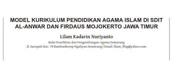 Model Kurikulum Pendidikan Agama Islam di SD-IT Al-Anwar