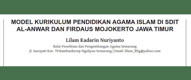 Model Kurikulum Pendidikan Agama Islam di SD-IT Al-Anwar