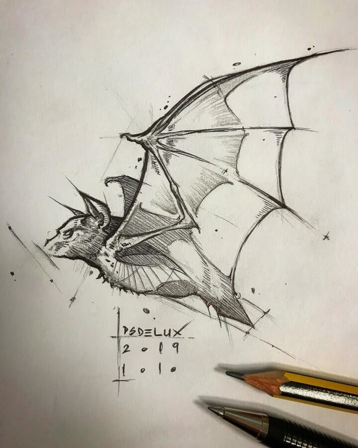 02-Bat-in-Flight-Psdelux-Animal-Drawings-www-designstack-co