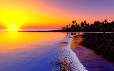 sea sunset widescreen hd wallpaper