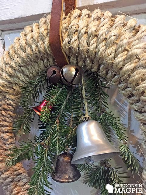 sisal rope wrapped around metal wreath frame