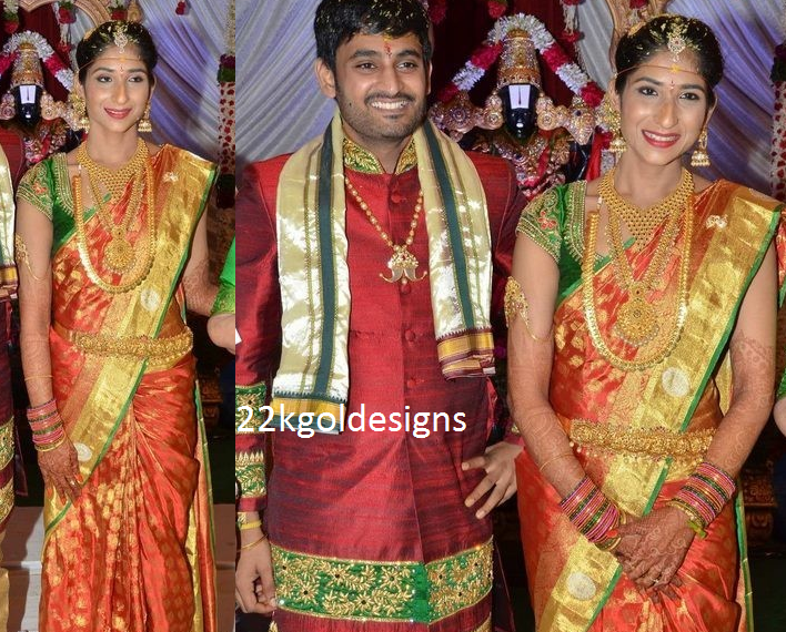 South Indian Bride Sri Divya in her Wedding Gold Jewellery