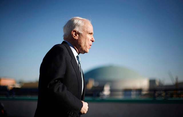 Republican presidential candidate Sen. John McCain arrives for a news conference in Annapolis, Md.