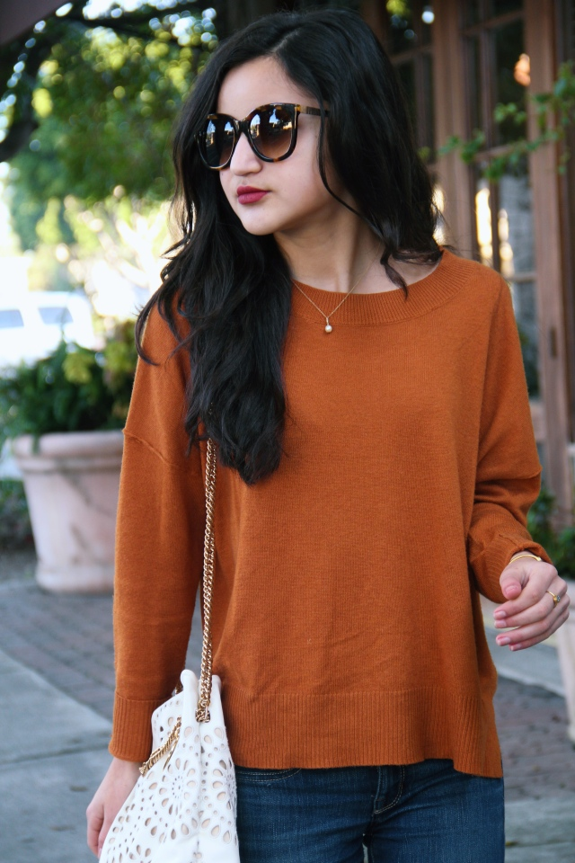 BP orange pullover vegan cashmere sweater jeans