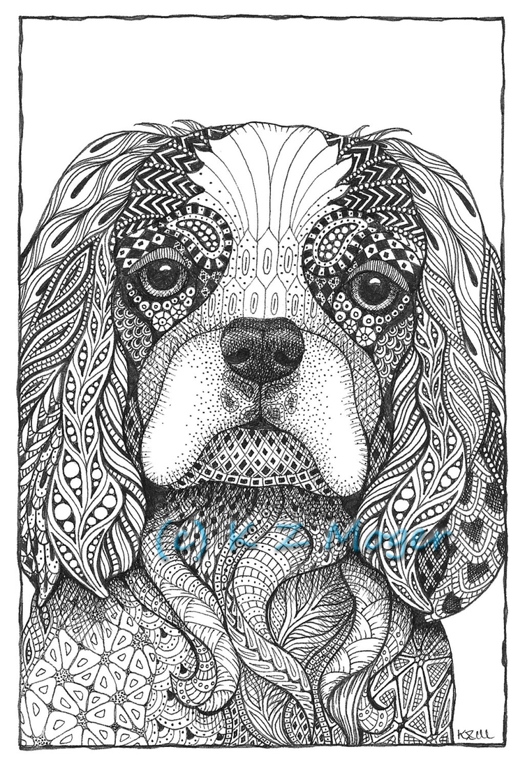 11-Cavalier-King-Charles-Spaniel-Kristin-Moger-Domestic-and-Wild-Zentangle-Animal-Portraits-www-designstack-co